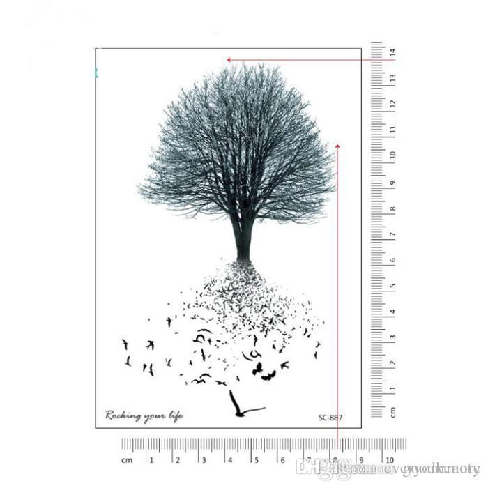waterproof temporary fake tattoo stickers vintage grey tree swallows