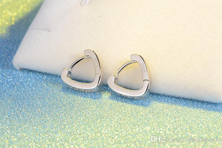 Fashion V letter Shape Love Heart White Crystal Stone Hook Stud 925 Silver Plated Earrings Ear Jewelry for women Xmas Gift EH149