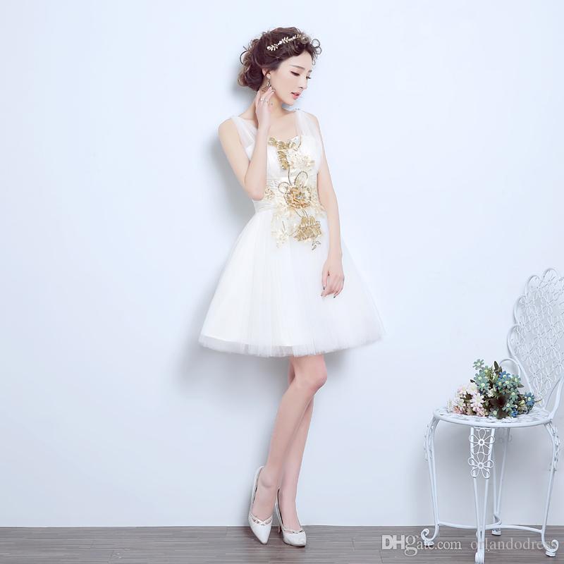 Brand New Abendkleider mit Applikationen Elegante Mädchen Frauen Braut Kleid Mode Kurze Ball Prom Party Homecoming Graduation Abendkleid
