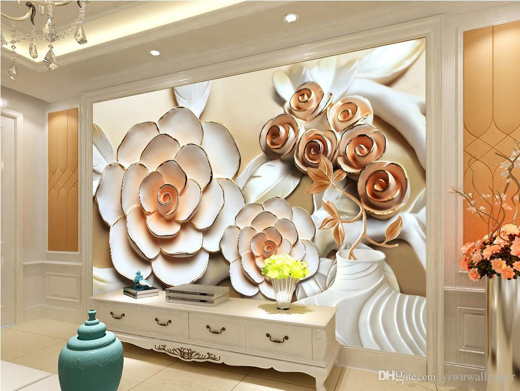 Photo Any Size Rose Flower Embossed Mural Tv Wall Mural 3d