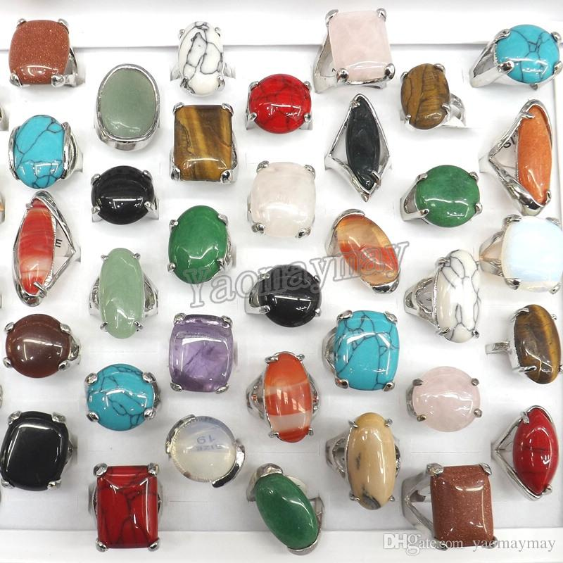 Queen Size High Quality Natural Semi-precious Stone Rings Include Turquoise, Opal, Rose quartz, Etc