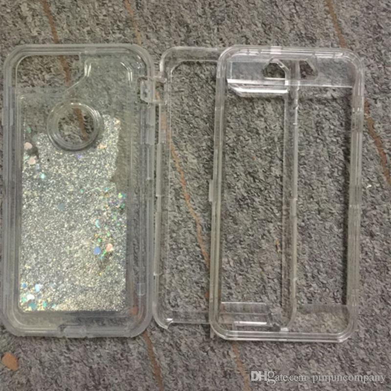 iphone 8 7 Plus 6s plus galaxy note 8 s8 plus Clear Clear Robot Liquid sabbie mobili Custodia glitter telefono dinamico