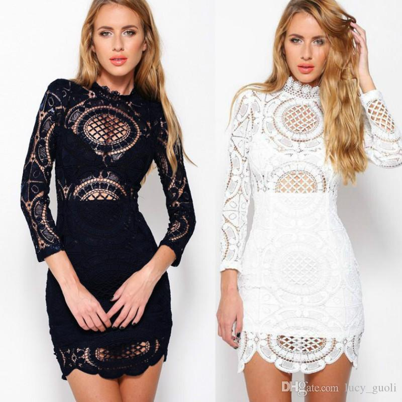 Sexy Club Dress 2017 White Blue Embroidery Floral Celebrity Bodycon Bandage  Dress Sexy Long Sleeve Party Slim Hollow Lace Dress Turtleneck Dresses Sale  ... 9d0afb0f5d91