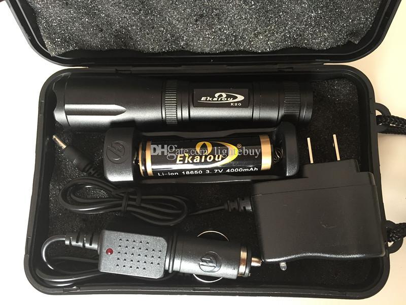 18650 배터리 충전기 선물 박스 세트 Ekaiou K20 XML T6 3800lm 주도 손전등 토치 줌이 전술 손전등 토치 라이트