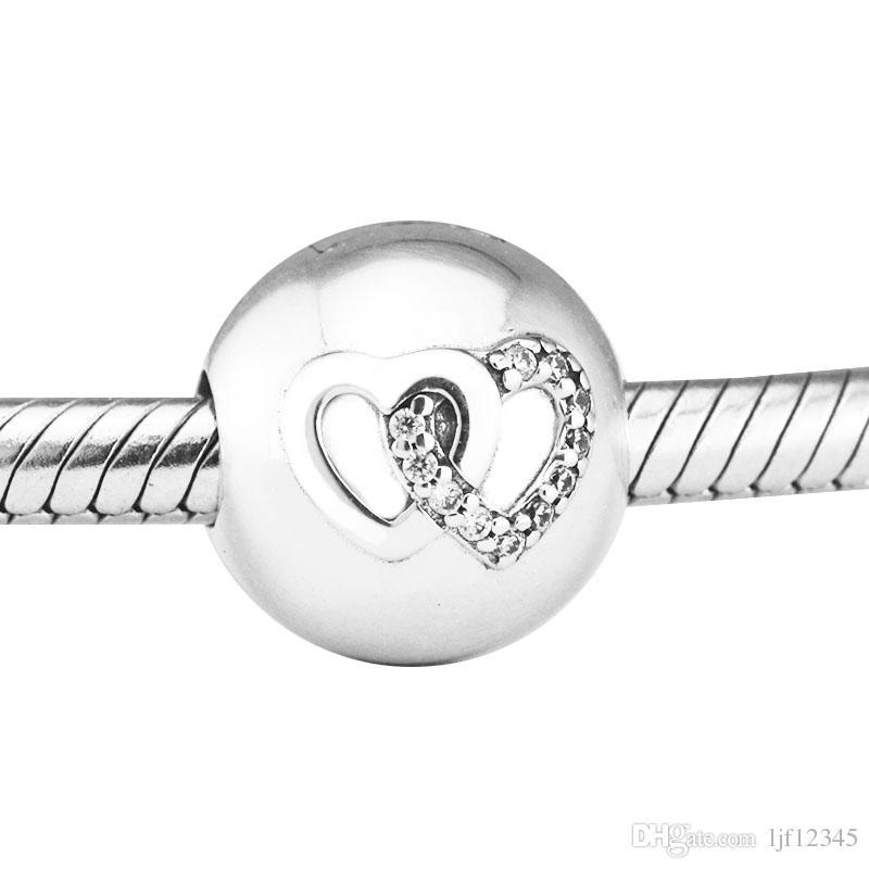 Pandulaso Herz Bond Charm Herz Clip passt Pandora Charms Armbänder Frau DIY Perlen für Schmuck machen Authentic 925 Sterling Silber