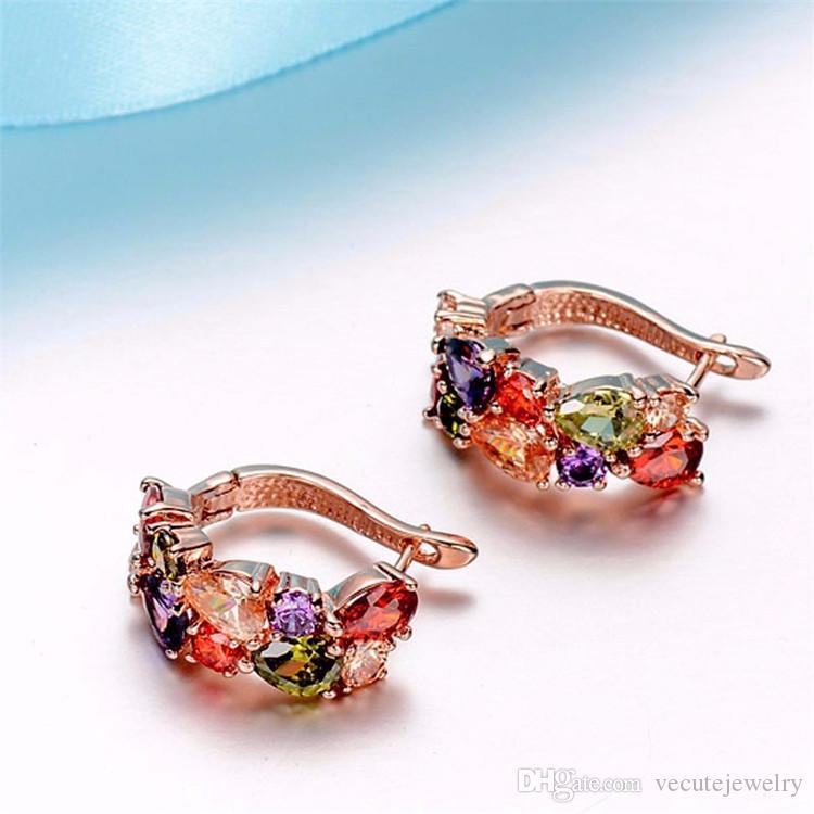 Luxe Noble 18 K Réel Plaqué Or Coloré Swarovski Cristal Collier Boucles D'oreilles Bracelet Bijoux Ensembles pour Femmes Dames Zircon Acessories