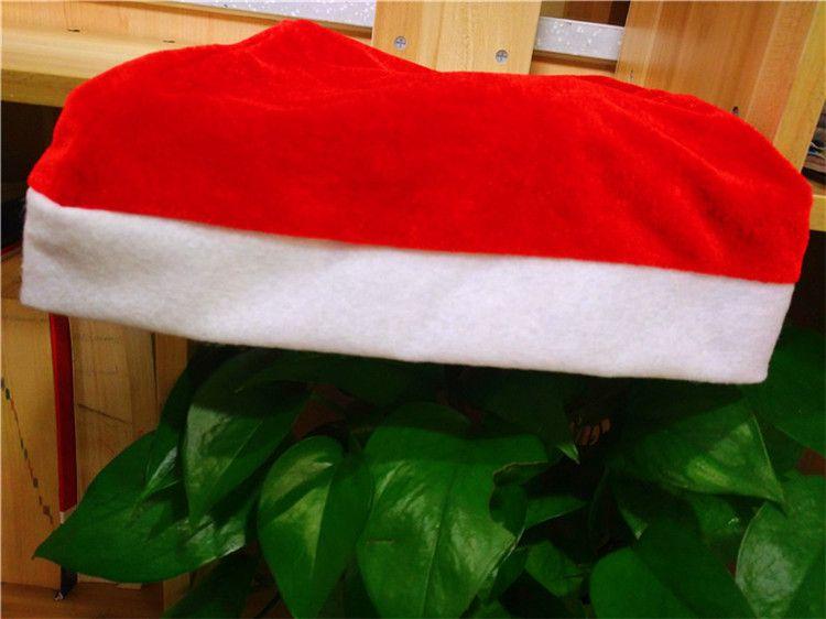Cappello rosso di Babbo Natale 38 * 27 cm Ultra morbido Pleuche Natale Cosplay Cappelli Decorazione natalizia bambini adulto cappello di Natale