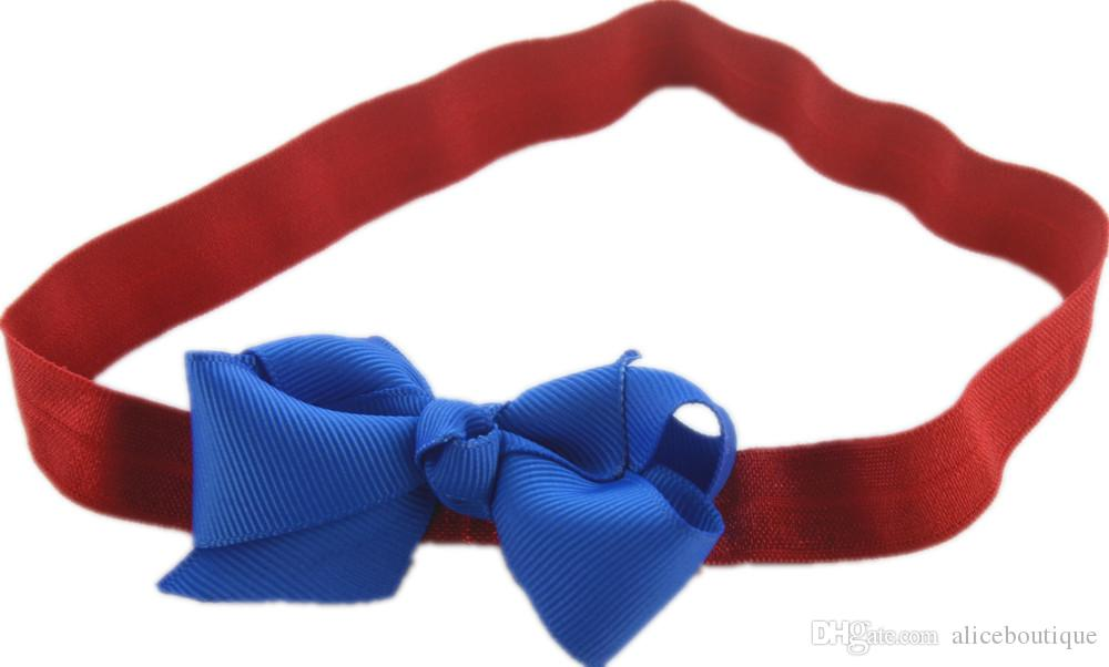 Lovely Elastic Headband with 2.76Inch Grosgrain Ribbon Bow Bowknot Classic Girl Headwear DIY Boutique on Sale FD236