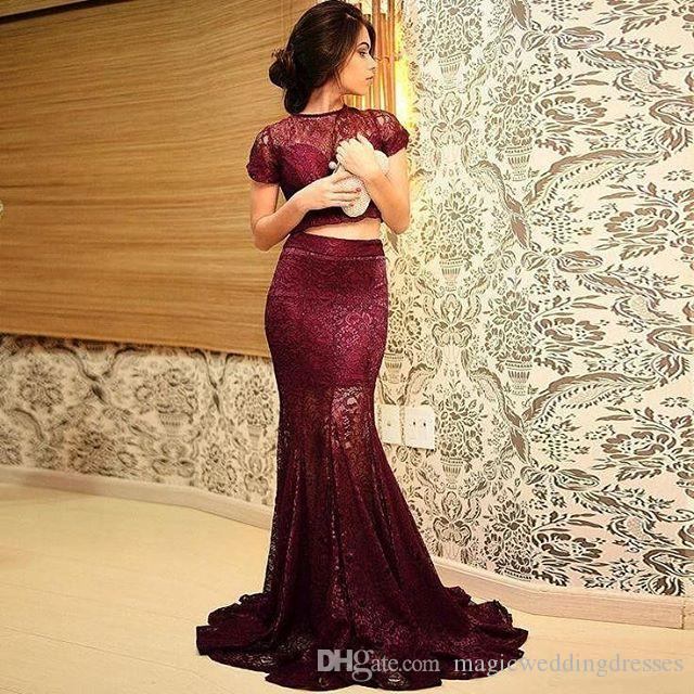 Vintage 2017 Burgundy Lace Arabic Formal Evening Dresses Short Sleeves Mermaid Sweep Train Custom Made Vestidos De Festa Prom Party Gowns