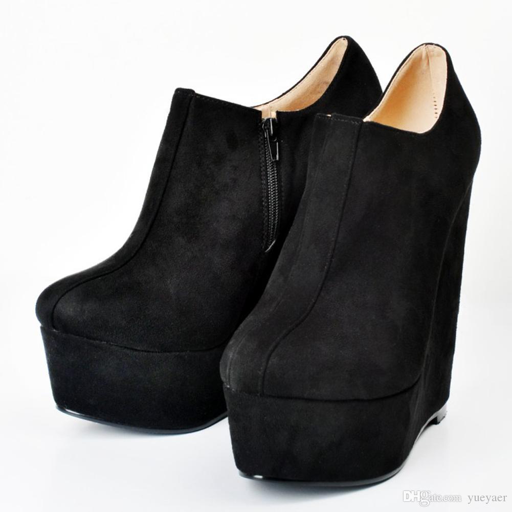 2020 Heel Womens Moda Handmade 15cm Wedge tornozelo Plataforma Bota Zipper Partido Shoes Botas Preto MYXD076