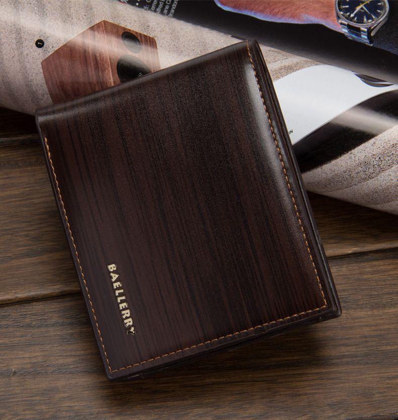 New Retro Holzmaserung Design 3 Falten Carteira Herren Brieftaschen PU Leder Freizeit Schwarz Kaffee Farben ID Kreditkarteninhaber Brieftasche