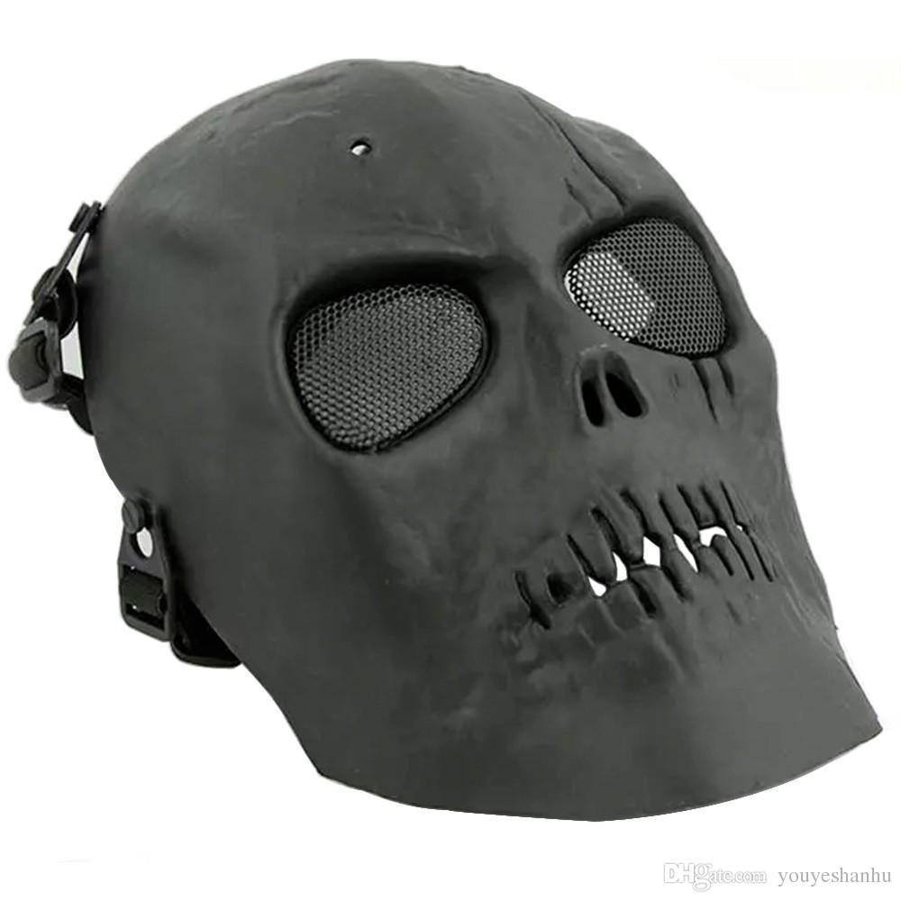 2016 Army Mesh máscara facial completa Skull Skeleton Airsoft Paintball BB Gun Game Protect máscara de seguridad