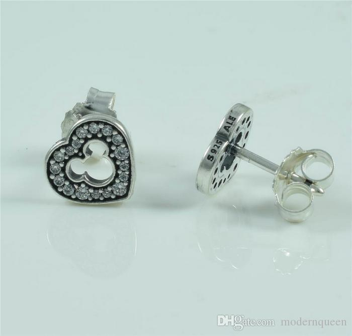 Mick mouse earrings stud for women original S925 silver fits for pandora style jewellery H9ale