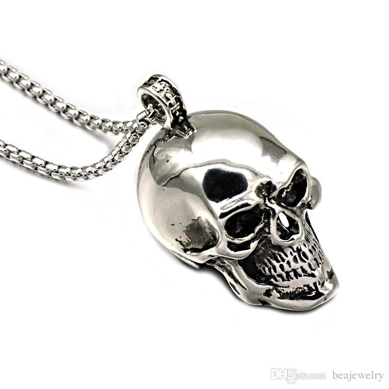 Hip Hop Punk Gold Black Blue Silver Color Stainless Steel Skeleton Skull Pendant Necklaces for Men Jewelry