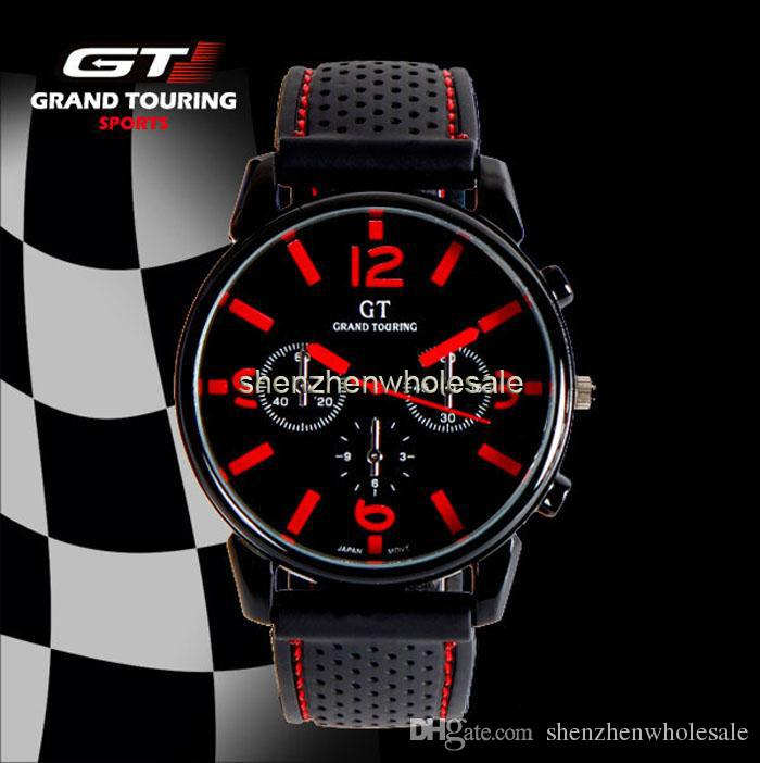 Fashion Men's Women Unisex Watches GT Sport Racing Car Quartz Watch Military Army Quartz Silicone watches