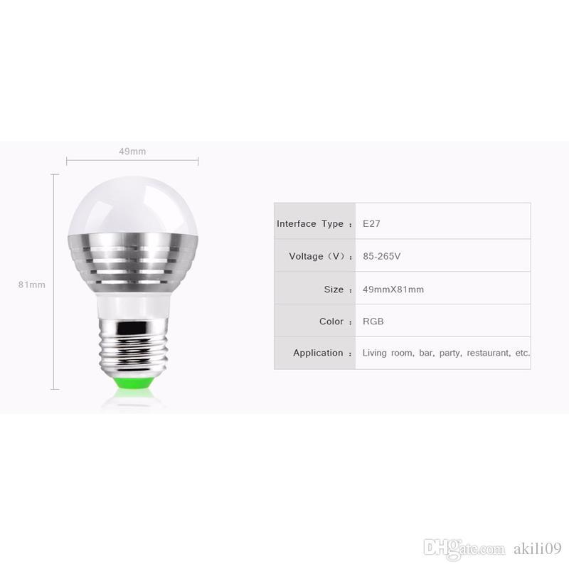 E27 B22 E14 GU10 cambiable RGB Magic 3W LED Lámpara de lámpara de foco 85-265V 110V 220V Luz de foco LED + Control remoto IR