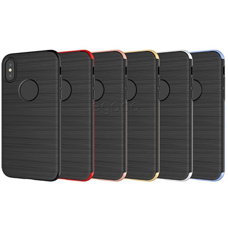 360 la pleine protection de cas Brosse dur PC de téléphone portable de luxe couverture avec miroir pour iPhone X 8 7 6 6S Plus 5 Samsung Note 8 5S S8 S7 bord plus J7