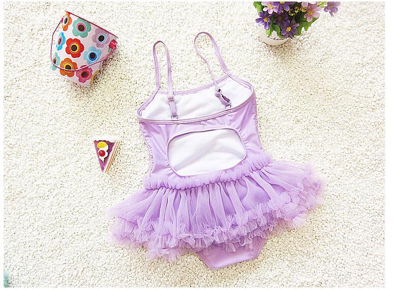 Baby Lace Girl Swimsuit Summer Beach One Piece Swimwear Kids Bathing Suit Pink Purple Princess Dress Swim Suits