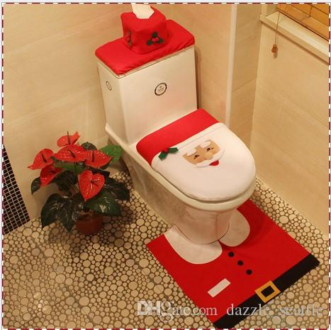 2018 santa claus toilet seat cover and rug bathroom set three piece suit christmas decorations for home decoracion christmas toilet seat covers from