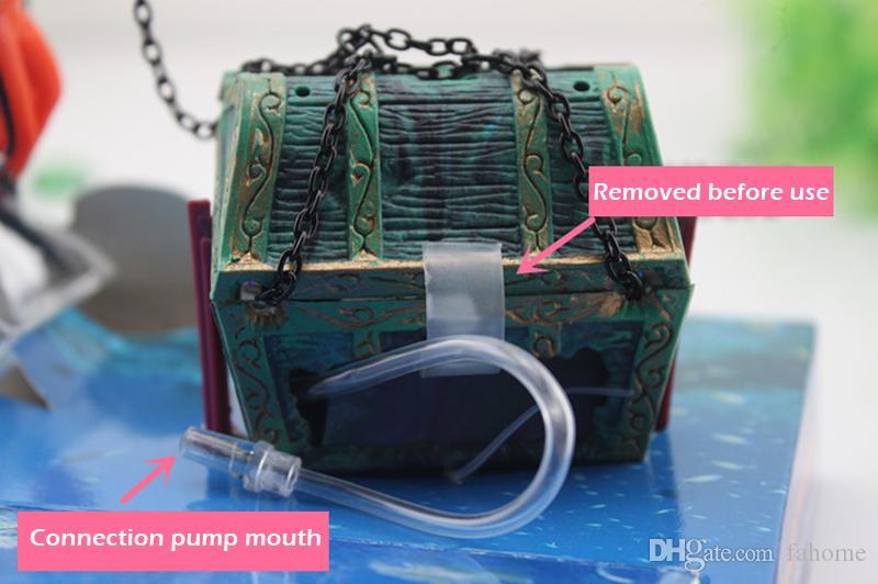 바다 - 보물 액션 수족관 장식품 바다 세계 비밀 드라이버 찾기 물고기 탱크 장식 조경 홈 인테리어 블랙 오렌지
