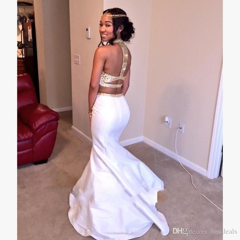 Blanco y oro dos piezas vestidos de fiesta 2017 cuello alto con cuentas con diamantes de imitación sirena vestidos de fiesta de noche vestido formal