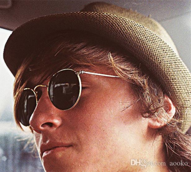 AOOKO Vente Chaude Marque Vintage lunettes de soleil Oculos De Sol Feminino Rétro Ronde Métal Eyeware verre lentille Urban Outfitters Lunettes de soleil 50mm