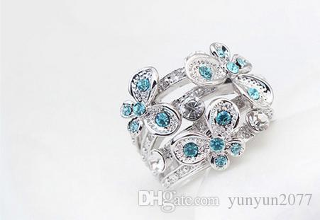 Gifts High End Luxury Fine Jewelry Accessories Austrian Crystal Flowers Butterfly Party Cocktail Fingers Charm Wedding Bands Rings For Women