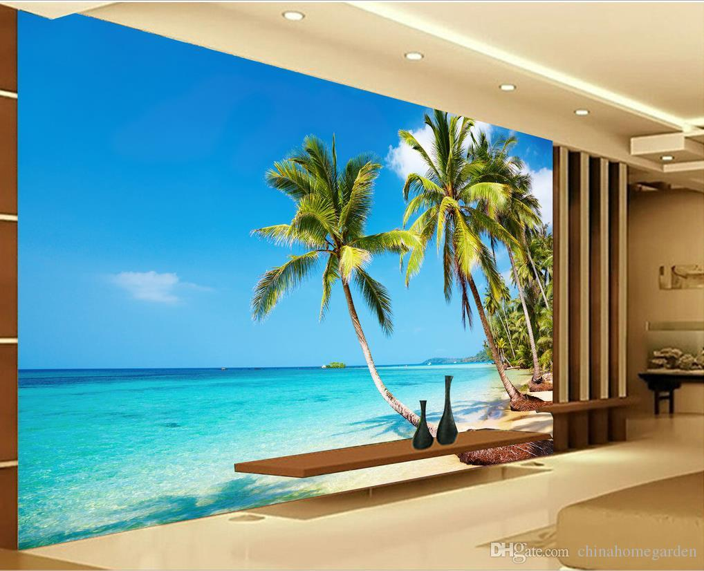 High definition sunny sea beach coconut palm tv wall mural for Beach mural wallpaper