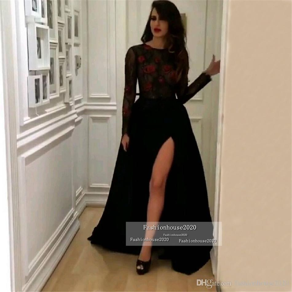 Arabic Little Black Long Sleeve Evening Dresses With Sexy High Slit Plus Size Sheer Formal Evening Gowns Sleeves Women Prom Party Dress