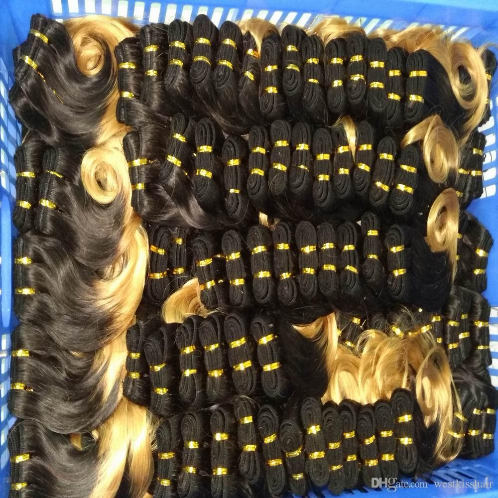 Wholesale Soft Ombre Hair Weave Brazilian Body Wave Red blonde Colors two tones