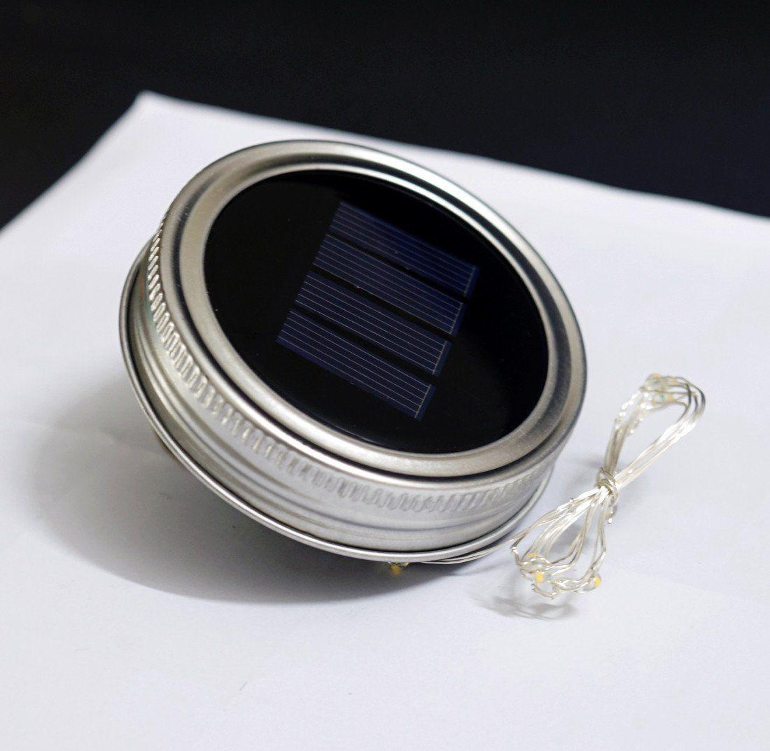 Güneş Enerjili LED Mason Kavanoz Işık Up Kapak 10 LED Dize Peri Yıldız Işıkları Gümüş Masonlar Cam Kapakları için Kapaklar üzerinde Vidalar Noel Bahçe Işıkları