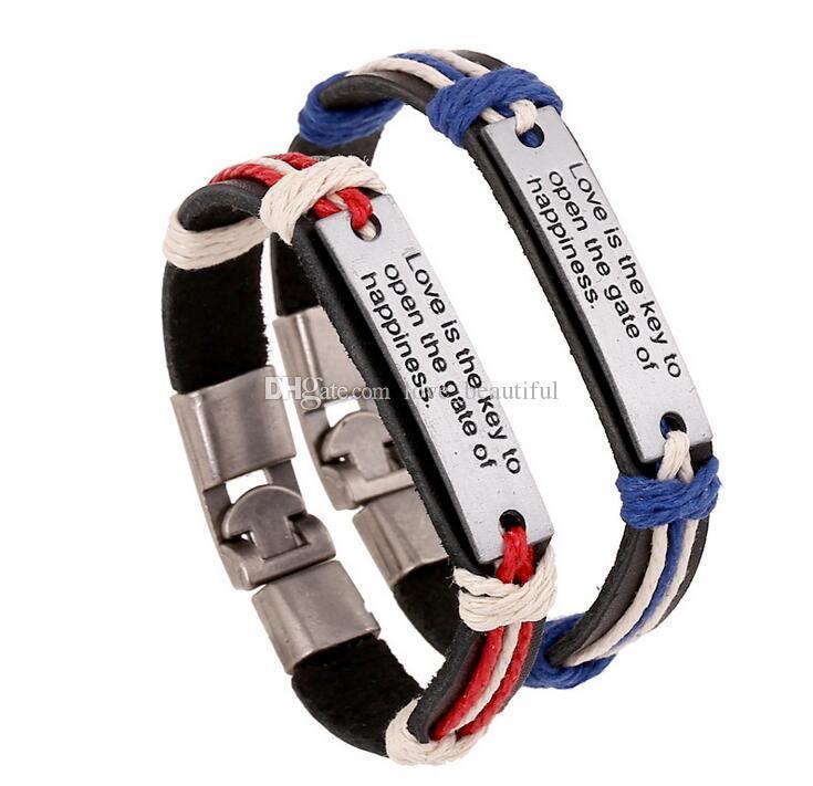 Homem mulher Pulseira de couro Alternar fechos 100% pulseira de couro O amor é a chave para abrir o portão da felicidade Casal Pulseira 12 pçs / lote