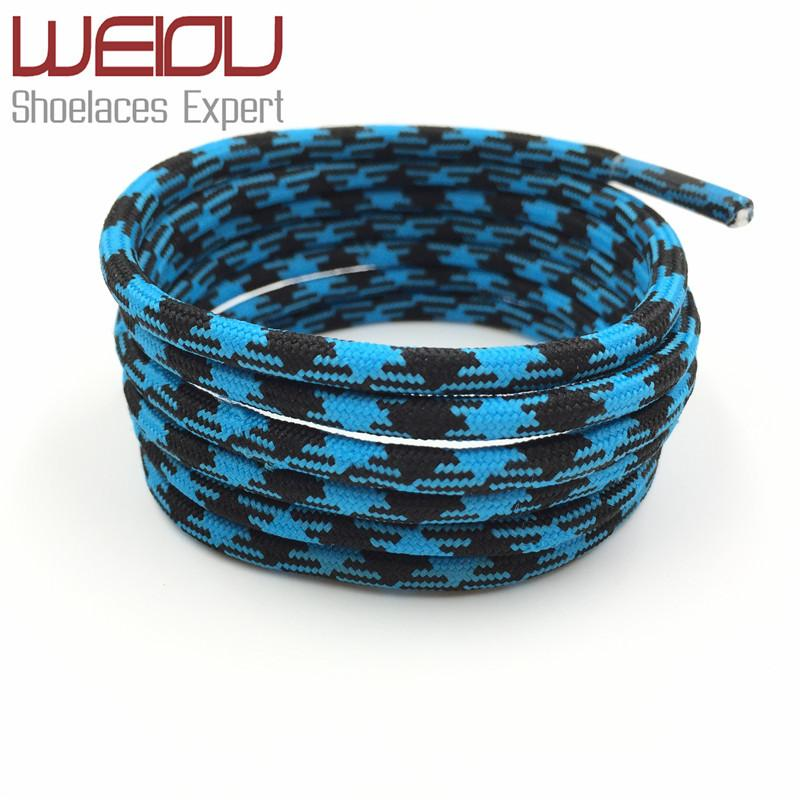 Weiou Hot Sales Black Blue Hiking Bootlace Walking Two Toned Rope Laces Replacement Athletic Shoe Strings Round Rope Shoelaces