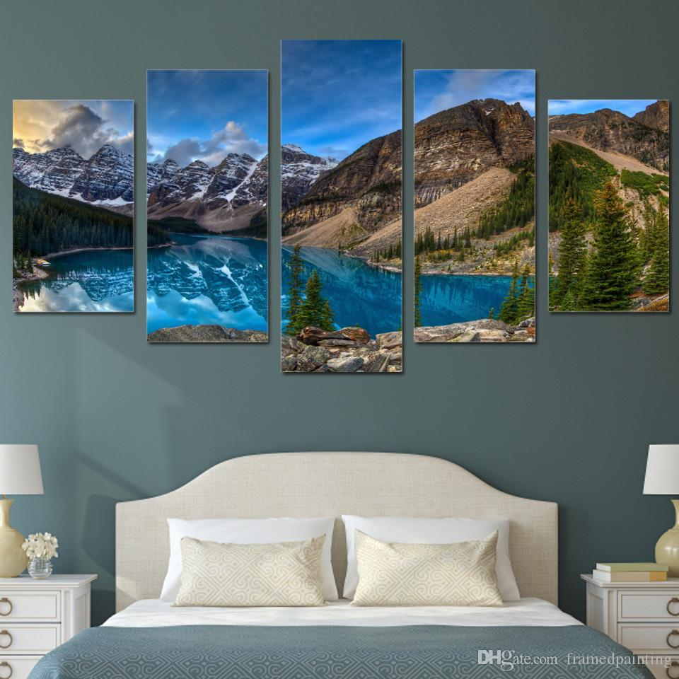 Framed HD Printed Mountain Lake Picture Home Decor Canvas Poster Cheap Abstract Oil Painting