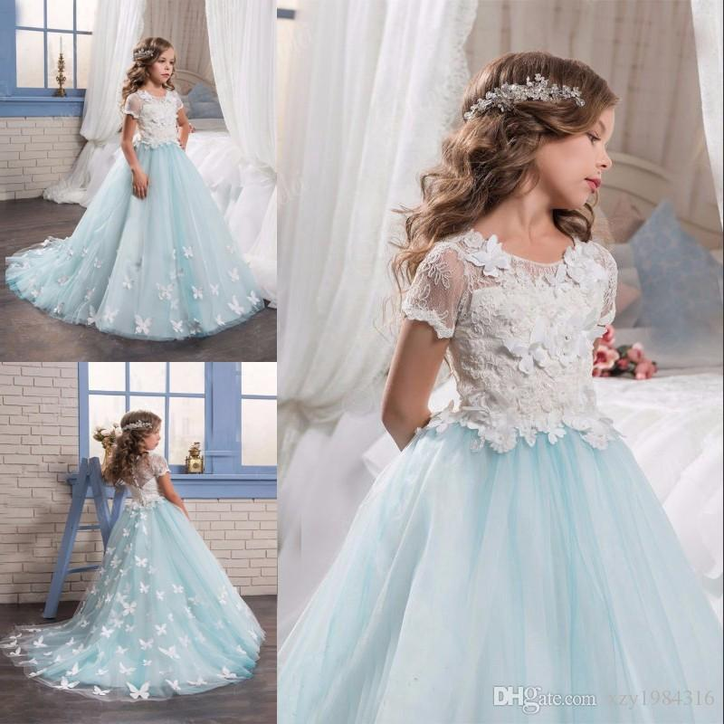 Light Blue Flower Girl Dresses