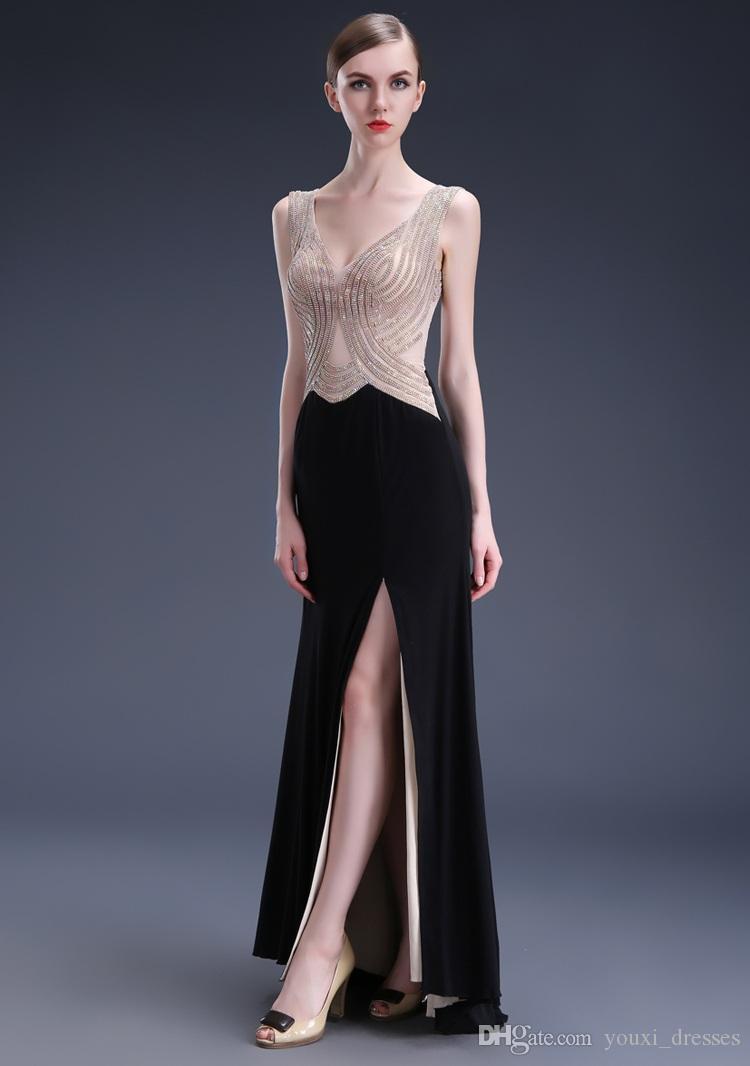 Sexy V-Neck Longues Robes De Bal