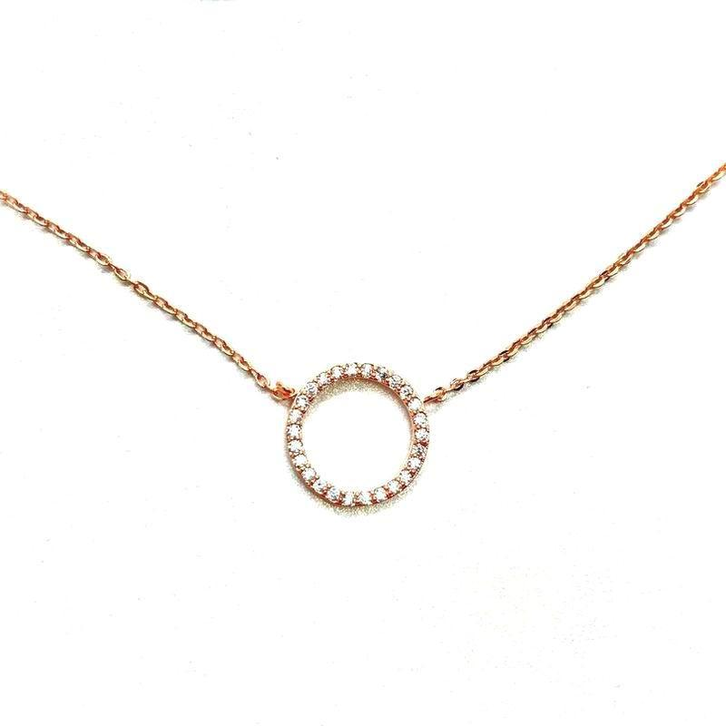 Simple Rose Gold Plated Necklace Women Bijoux Round Circle Necklaces