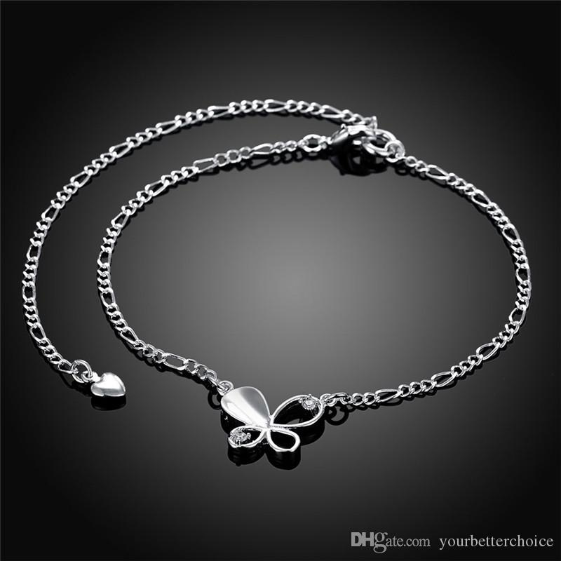 Fashion Silver Plate Copper Barefoot Butterfly Pendant with CZ Crystal Figaro Chain Anklet for Women