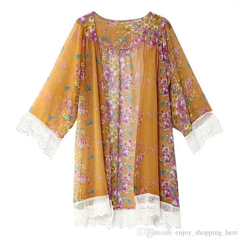 Compre Mujeres Kimono Lace Tassel Patrón De Flores Chal Kimono Cardigan Estilo Casual Crochet Lace Chiffon Coat Bikini Cover Up Camiseta Blusa Xxl A