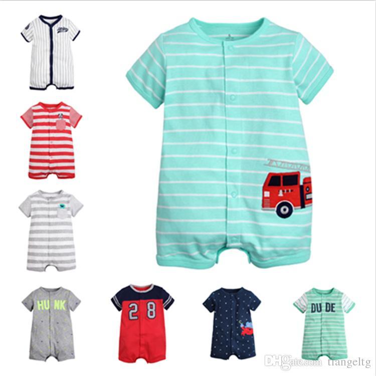 1367bd75df21 2019 Short Sleeve Boys Rompers Baby Girls Unisex Infant Toddler ...