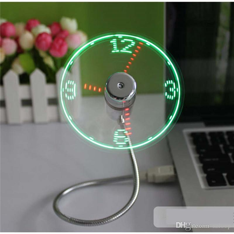 USB Gadget Mini Flexible LED Lumière USB Fan Time Clock Horloge de bureau Cool Gadget Time Display 0408005