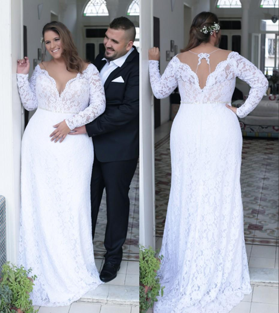 2017 lace beach plus size wedding dresses long sleeves sheath sexy