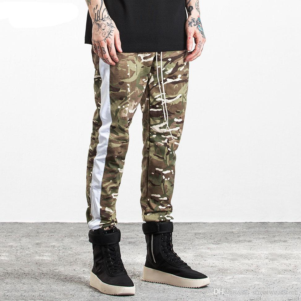 914d1f0774d 2019 Camouflage Men Side Stripe Joggers Pants Fashion High Street Cargo  Pants Hip Hop Sweatpants Side Zipper Leg Opening From Streetwearstore