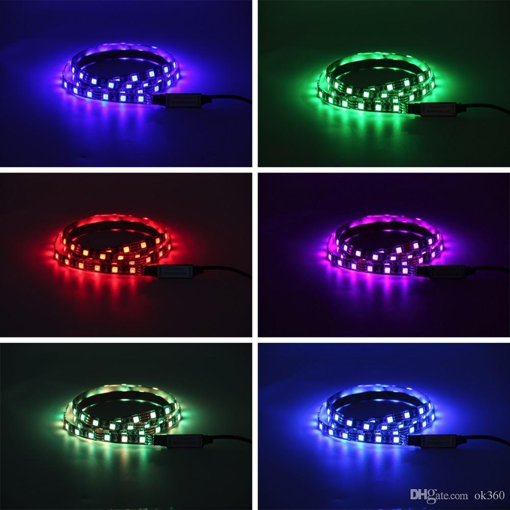 5050 DC 5 V RGB Tira CONDUZIDA À Prova D 'Água 30LED / M USB LED Tiras de Luz Flexível Neon Tape 1 M 2 M adicionar Remoto Para TV fundo