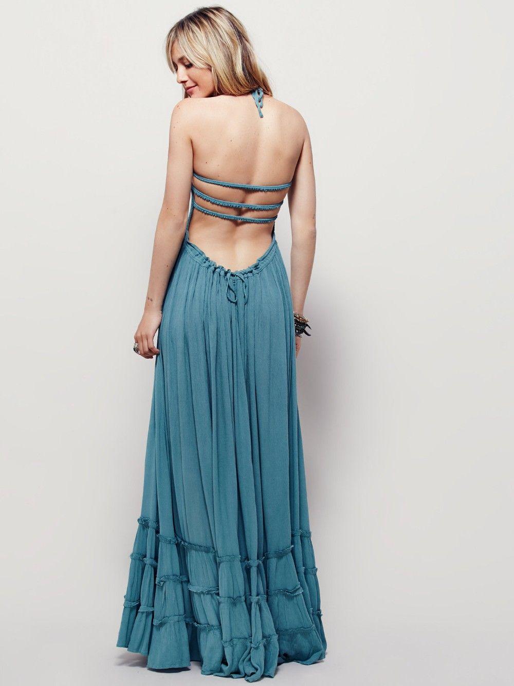 2017 Summer Beach Dress Bohème De Vacances Longue Dos Nu Sexy Dress Femmes Parti Hippie Robes Maxi Dress