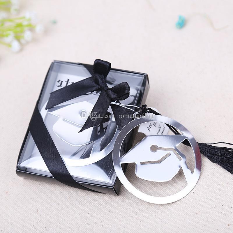 Marcador del metal del casquillo de la graduación con los regalos elegantes del partido de la borla del negro de la fiesta de la borla de la graduación para el envío libre del invitado + de DHL