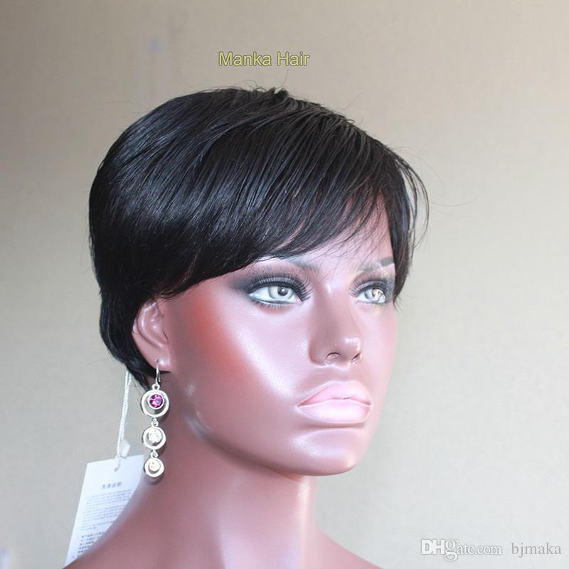 2016 célébrité perruque Machine faite courte perruque de cheveux humains sans dentelle brésilienne cheveux raides sans colle plein perruques de cheveux humains