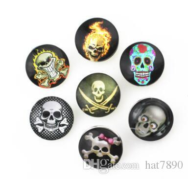 Wholesale new fation Mix styles 18mm Metal Press Button Diy Skull Snap Button Silver Snap Charm Bracelet Jewelry