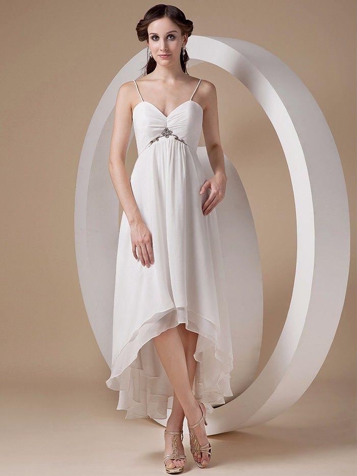 Empire Waist Maternity Beach Wedding Dresses Sweetheart Spaghetti Straps High Low Informal Simple Second Wedding Dresses For Pregnant