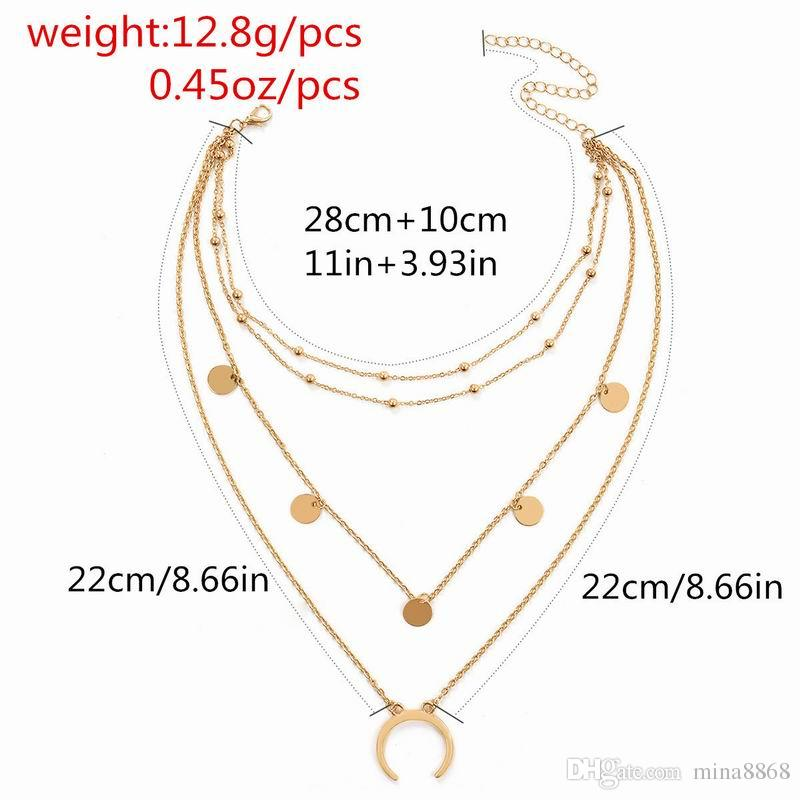 New Women Multilayer Pendant necklace long Chain Statement round Moon choker Necklace Metal alloy collare wholesale